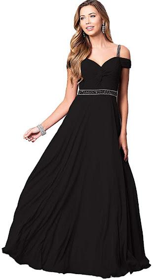 Elegant Black Chiffon Bridesmaid Dresses