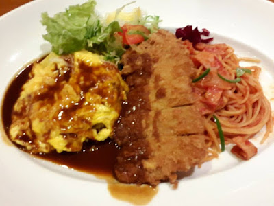 Curry Omurice with Chicken Katsu and Spaghetti at Star Kyoto