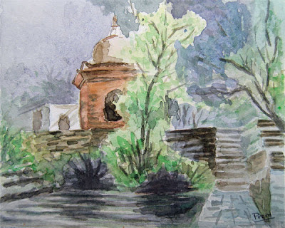 Watercolor of Temple Landscape