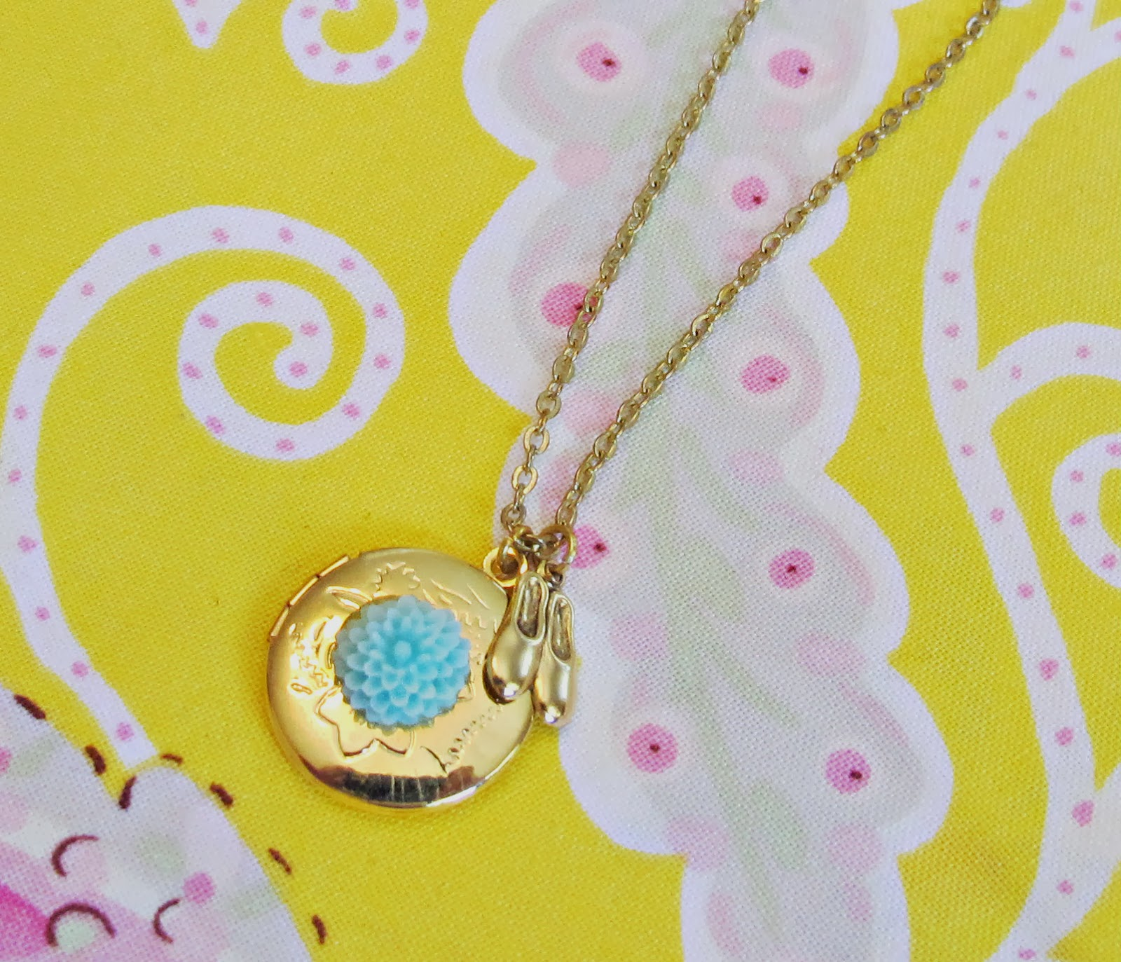 image ballerina locket necklace two cheeky monkeys gold plated aqua flower ballet shoes