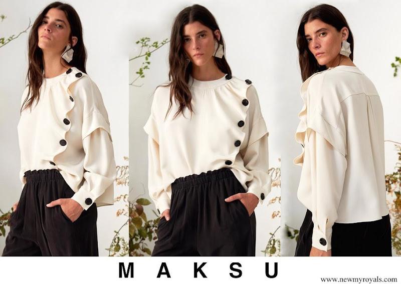 Queen Letizia wore Maksu ecru fontana blouse