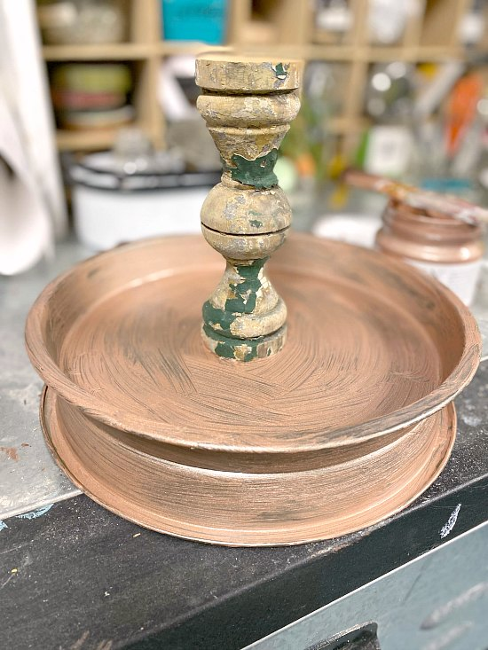 DIY Rose Gold Tiered Tray with chippy spindle for Easter