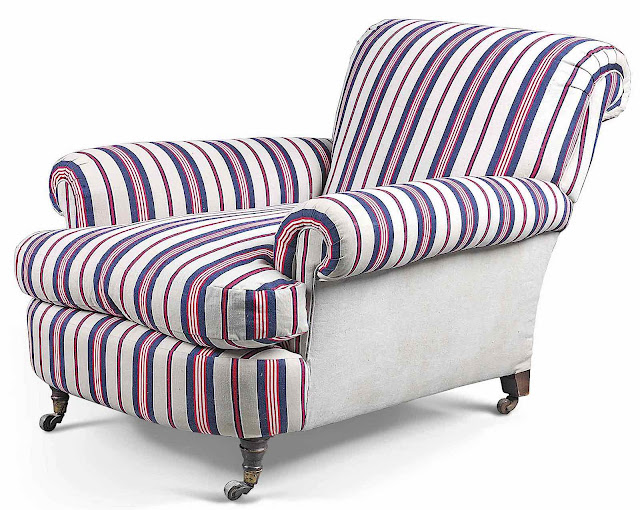 an easy chair 1890s? in red white and blue