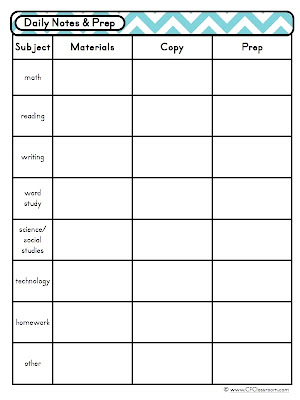 Day At A Glance Daily Lesson Planning {Lesson Plan Template