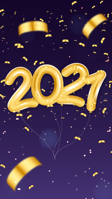 2021 Golden balloons of happy new year
