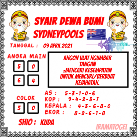 Syair Dewa Bumi Sidney Jumat 09 April 2021