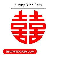 tem chữ hỷ mẫu tròn dán quà cưới