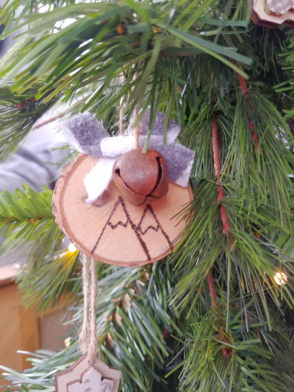rustic wood burned ornaments