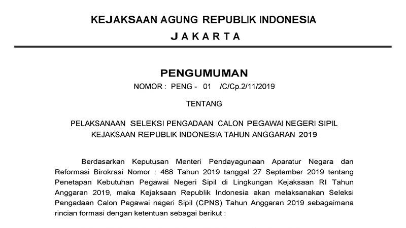 Penerimaan CPNS 2019 Kejaksaan Republik Indonesia (5.203 Formasi)
