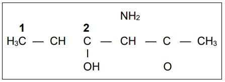 UECE 2020: Observe a fórmula estrutural incompleta do seguinte composto orgânico, com dois átomos de carbono numerados