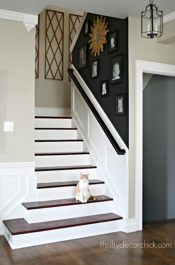 black accent wall stairs