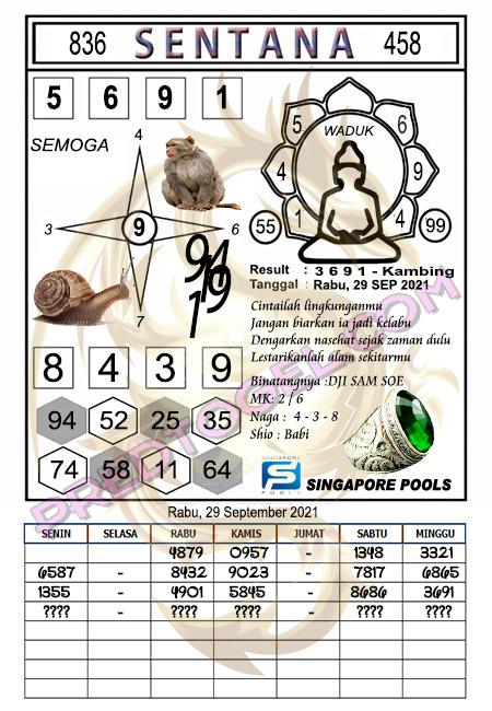 Syair Sentana SGP Rabu 29-09-2021