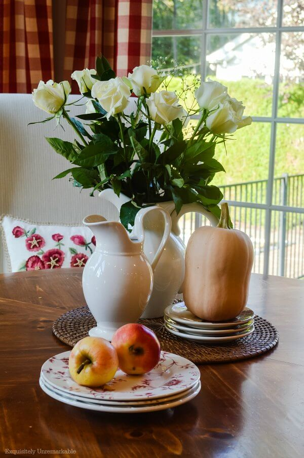 Roses And Apples On Fall Kitchen Table