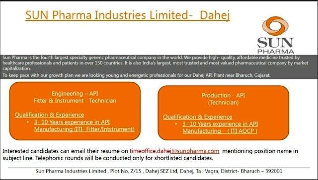 Sun Pharma | Urgent openings for Production/Engg at Dahej | Send CV