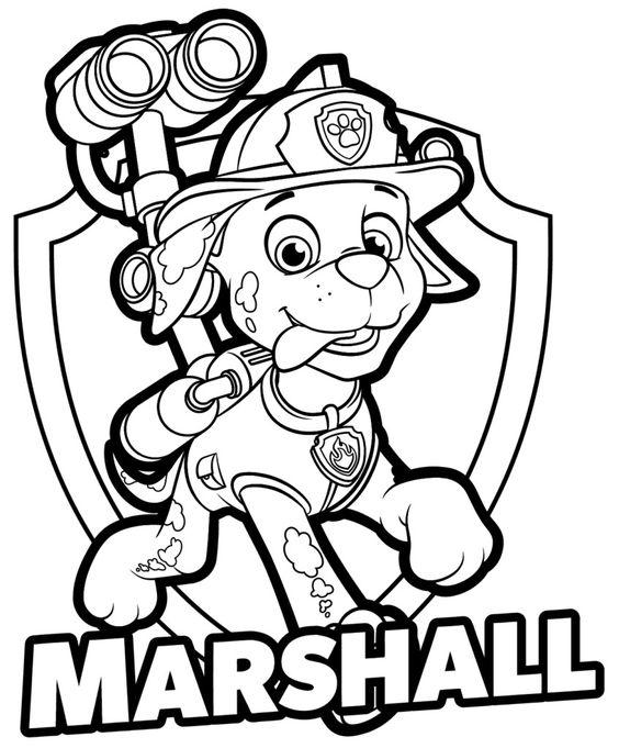 Tranh tô màu chú chó cứu hộ Marshall