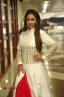 Telugu Actress Sri Reddy Mallidi Stills in White Beautiful Dress at Marriage Needs Bridal Fashion Week 2017 Logo Launch  0004.JPG