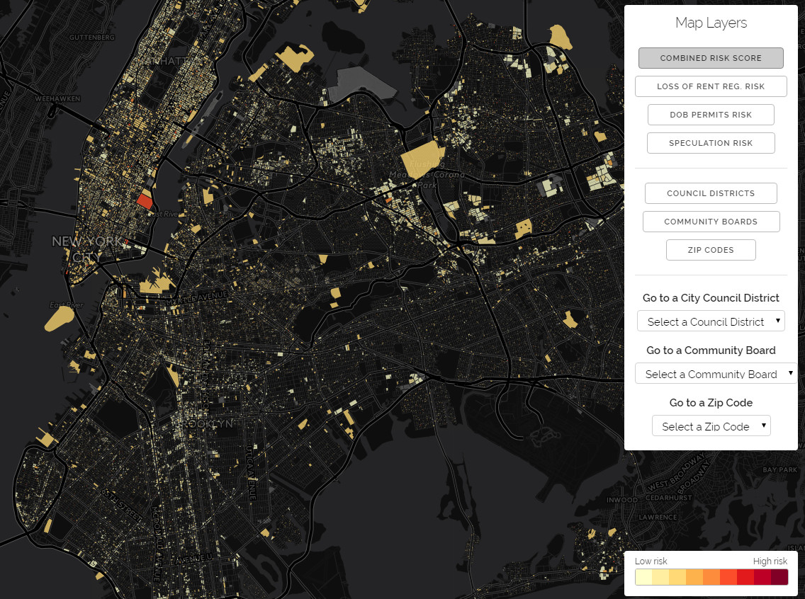 The Displacement Alert Project Map of New York City