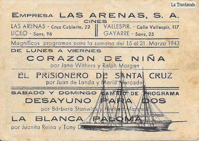 Programa de Cine - El Prisionero de Santa Cruz - Juan de Landa - Maria Mercader