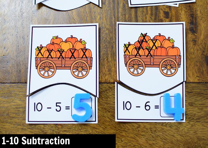 November Kindergarten Math Activity Center: 1-10 Subtraction