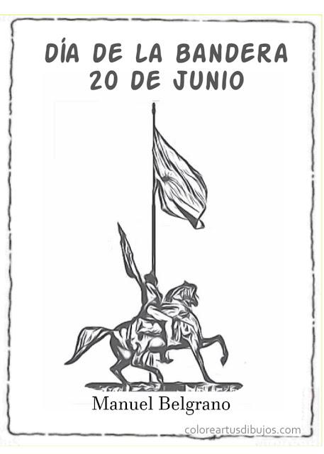 20 de junio dia de la bandera  dibujos para colorear Manuel Belgrano