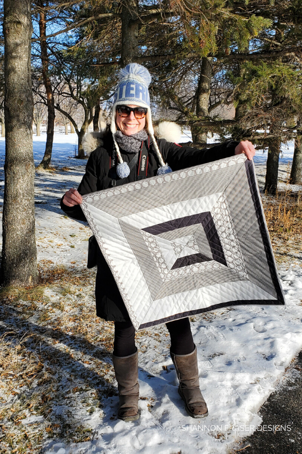 Reflections Wall Hanging | Honest state of a modern quilter's WIP List | Q1 2020 Finish-a-Long | Shannon Fraser Designs #modernquilter #wallhanging #monochromaticquilt