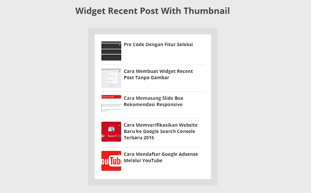 Cara Membuat Widget Recent Post Dengan Thumbnail