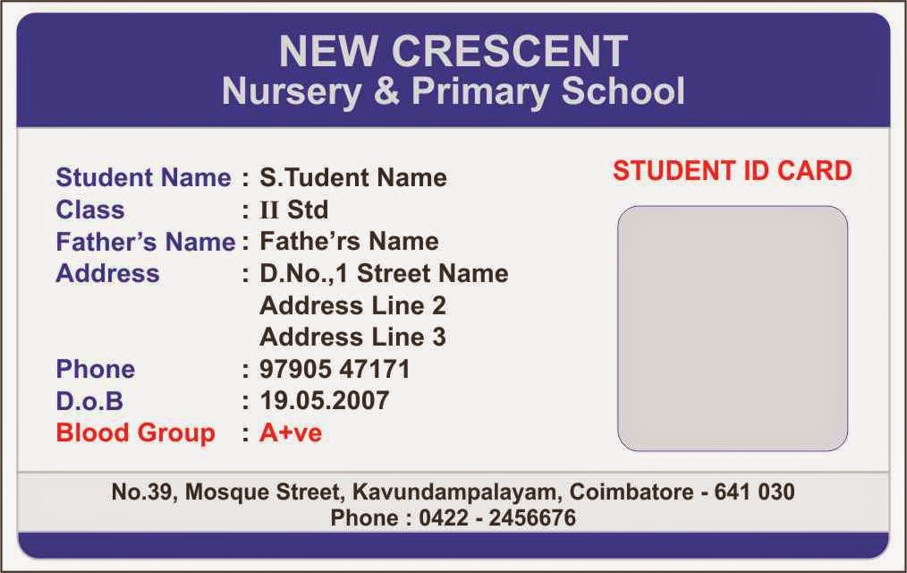 ID Card - Coimbatore - Ph 97905 47171 Elementary School Student - id card template
