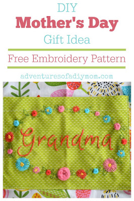 DIY Mother's Day Gift Idea with Free Embroidery Pattern
