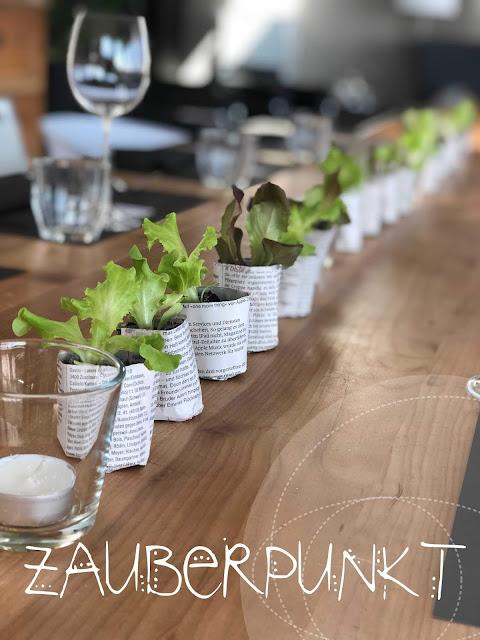 Tischdekoration mit Salatsetzlingen, Ostern, Frühling, Tablesetting, Springtime, Herbs, Homesweethome, Daheim ist es am schönsten, Gemütlich,