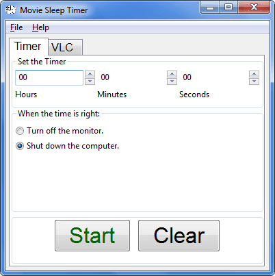 Movie Sleep Timer scheda Timer