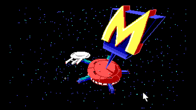 Screenshot of Monolith Burger and the Starship Enterprise in Space Quest III