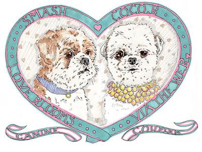 Ilustración de dos cachorritos tiernos