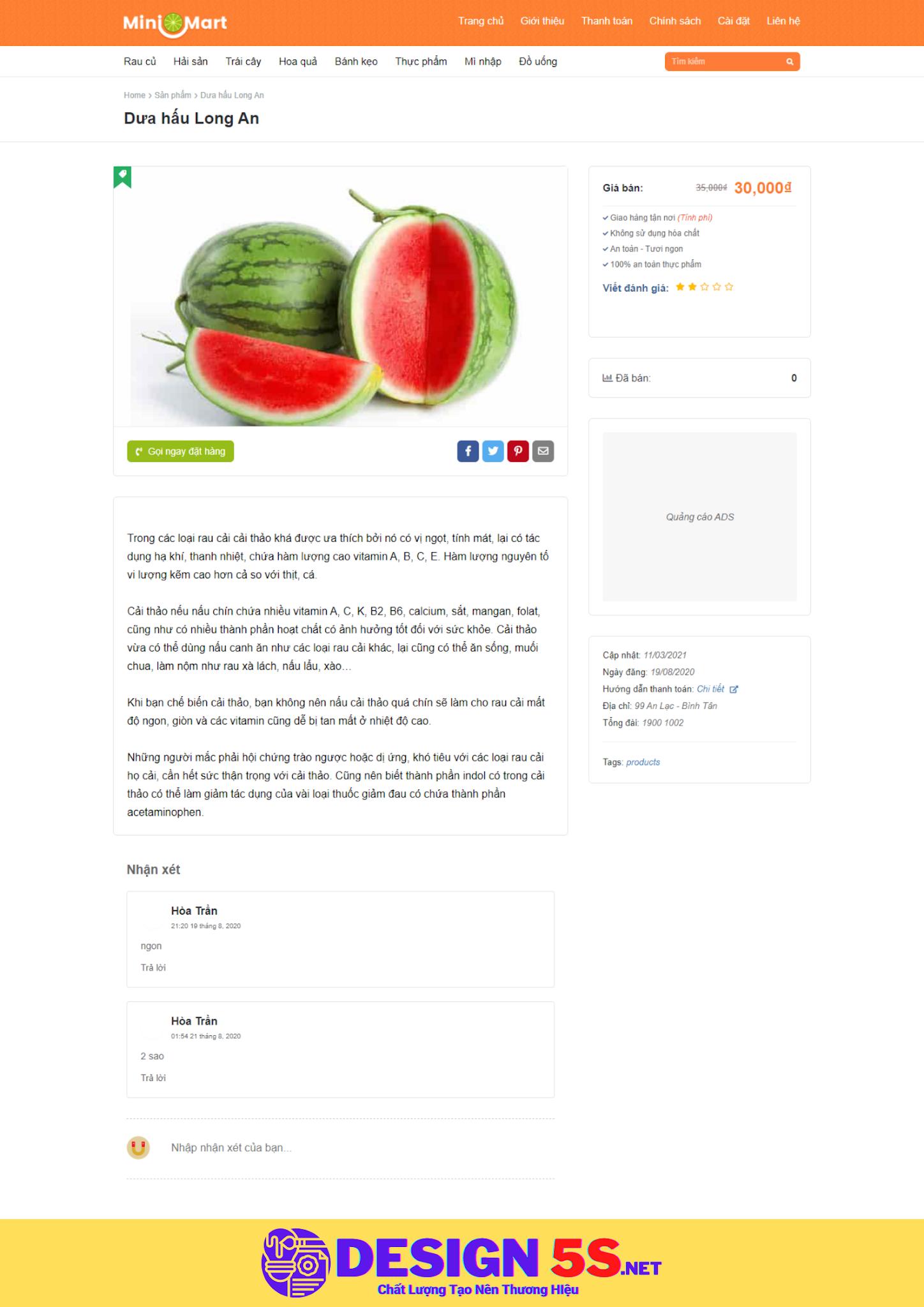 Theme blogspot bán thực phẩm, mini mart VSM33 - Ảnh 2