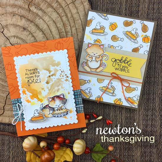 Thanksgiving cat cards by Jennifer Jackson | Newton's Thanksgiving Stamp Set by Newton's Nook Designs #newtonsnook #handmade