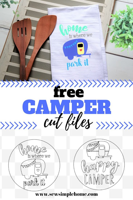 free happy camper svg cut files for Cricut and Silhouette cutting machines