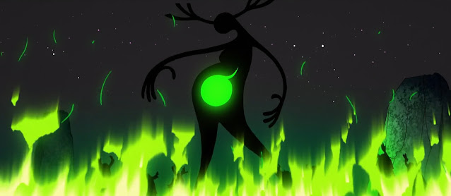 Green flames dance about a dark figure, little more than a silhouette but for the green glow emanating from her distended belly. Antlers sprout from her crown.