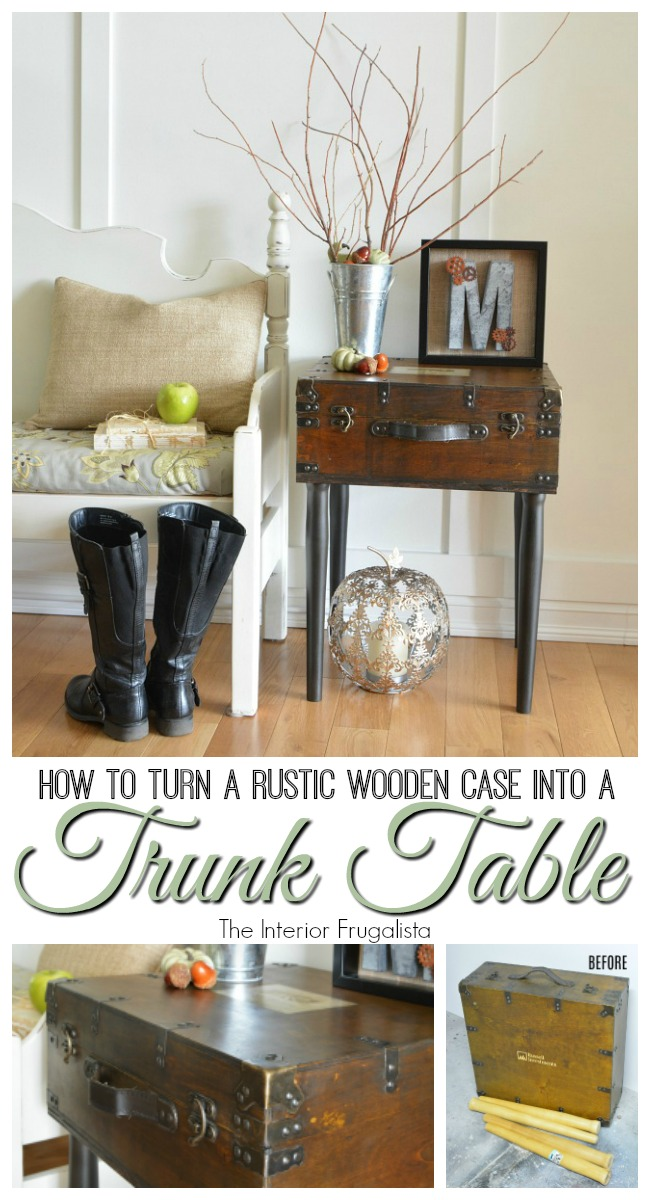 DIY Rustic Wooden Trunk Table Before and After