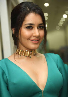 Raashi Khanna looks gorgeous in Green Deep neck Gown by Mint Blush at Hyper movie Audio Launch