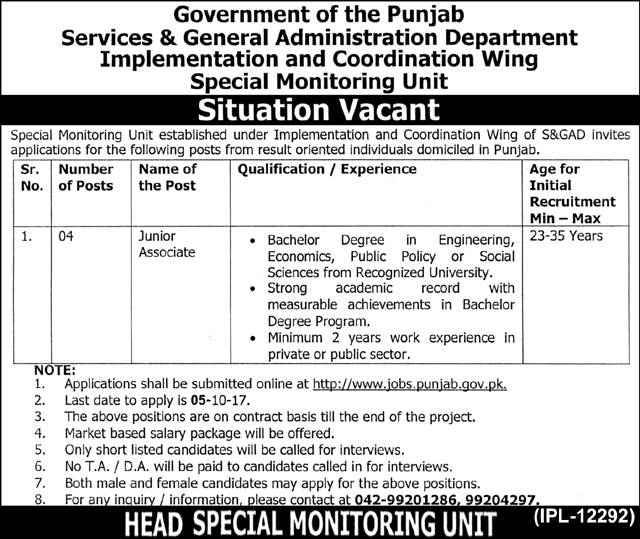 Junior Associate Jobs In Services And General Administration Department Special Monitoring Unit Sep 2017