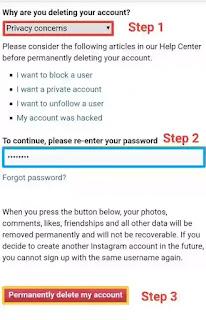 Instagram खाते को अस्थायी रूप से निष्क्रिय करें