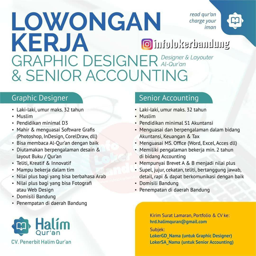Lowongan Kerja CV. Penerbit Halim Qur'an Bandung Agustus 2019