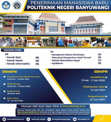 Penerimaan Mahasiswa Baru Politeknik Negeri Banyuwangi 2020