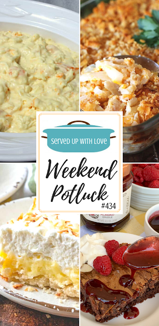 Weekend Potluck featured recipes include Chocolate Gooey Butter Cake, Southern Vidalia Onion Casserole, Hawaiian Pineapple Coconut Fluff, Coconut Cream Pie Bars, and so much more.