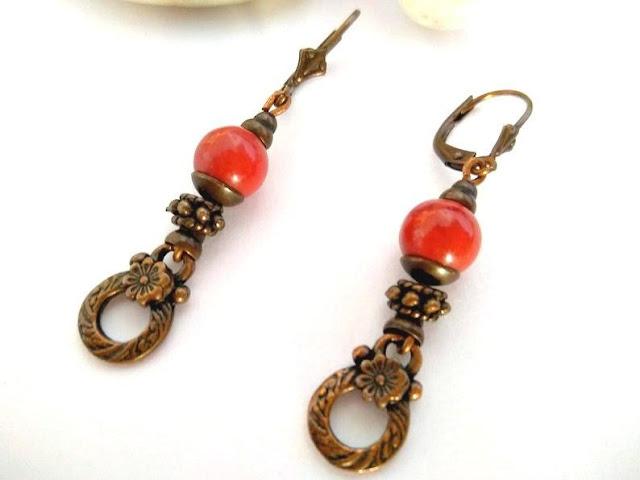 pendientes-vintage-bronce-rojo-coral