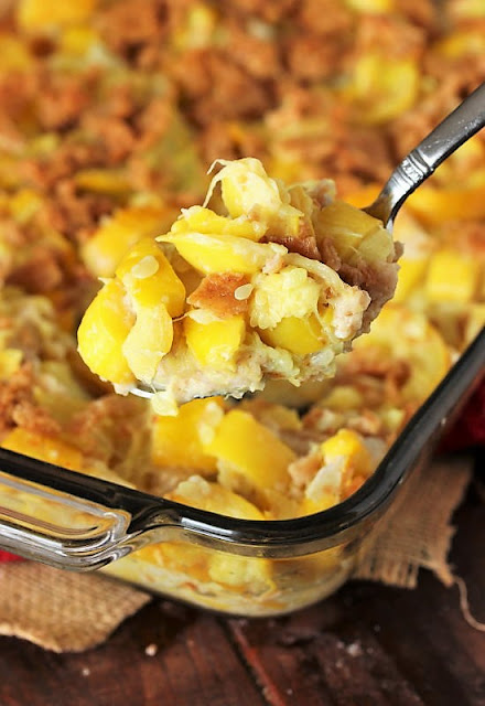 Serving Spoon of Ma's Mashed Summer Squash Casserole Image