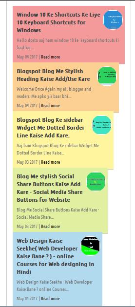Top 5 Stylish Recent Post Widgets Ko Blogger Me Add Kare
