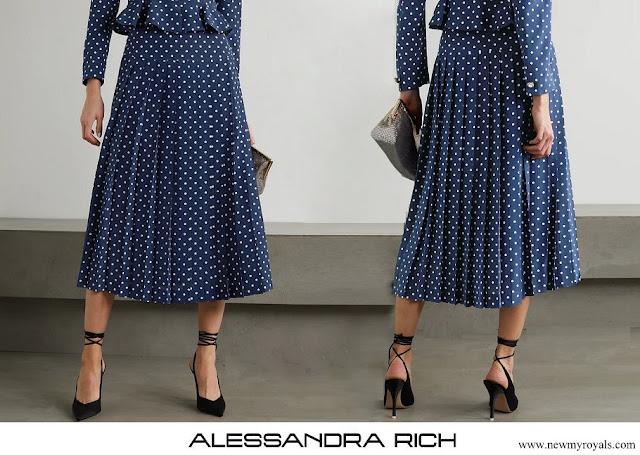 Kate Middleton wore Alessandra Rich Pleated Polka-Dot Silk Midi Skirt