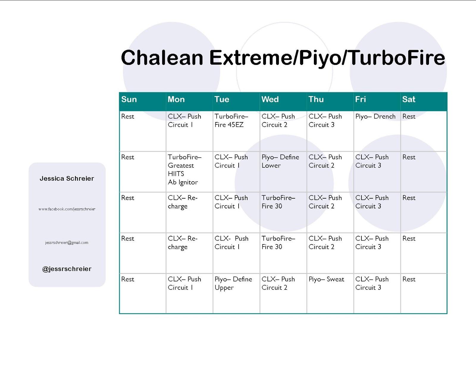 Jessica Schreier Chalean Extreme Turbofire Piyo Hybrid Schedule