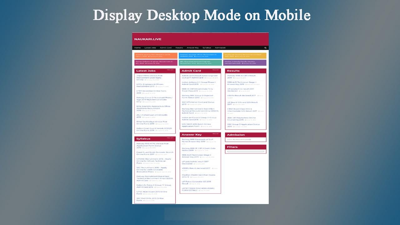 Display Desktop mode on mobile