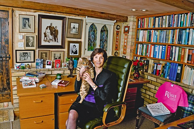 Dame Mary Archer and her cat Sunita 2015